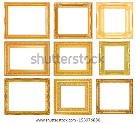 Set picture frame isolated on white background - stock photo