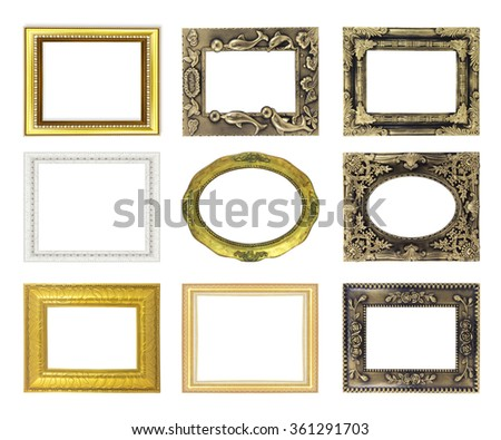Set picture gold frame isolated on white background