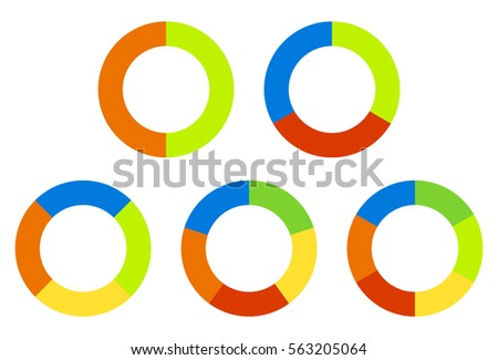 Set pie charts, graphs in 2,3,4,5,6 segments. Segmented circles. Colorful icons.