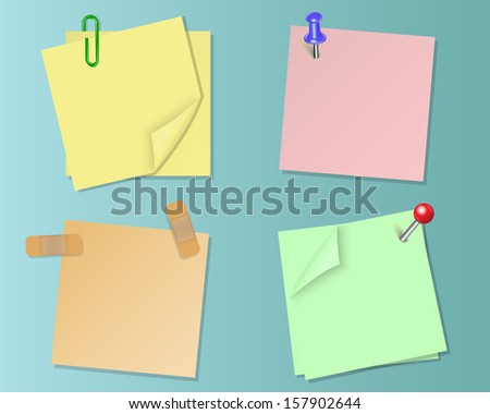 Set pieces of paper of different colors on the sticky tape and stationery pins