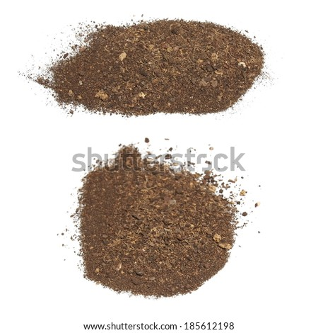 set pile dirt isolated on white background, (clipping path) - stock photo