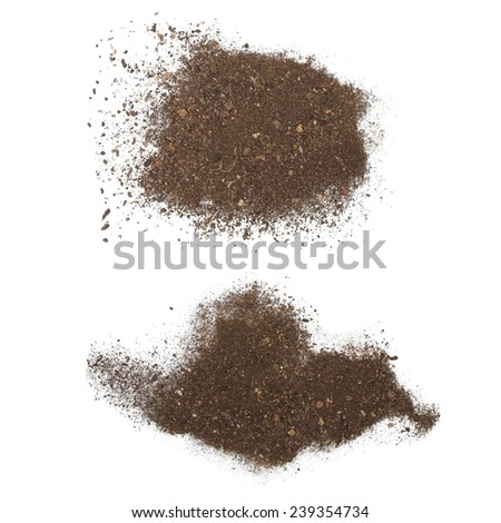 set pile dirt isolated on white background with clipping path - stock photo