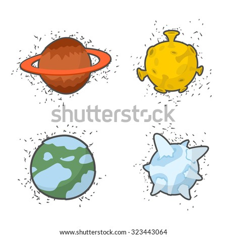 Set  planets on a white background: the Moon and Saturn, ice planet.   - stock photo