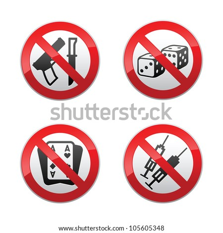 Set prohibited signs - gaming - stock photo