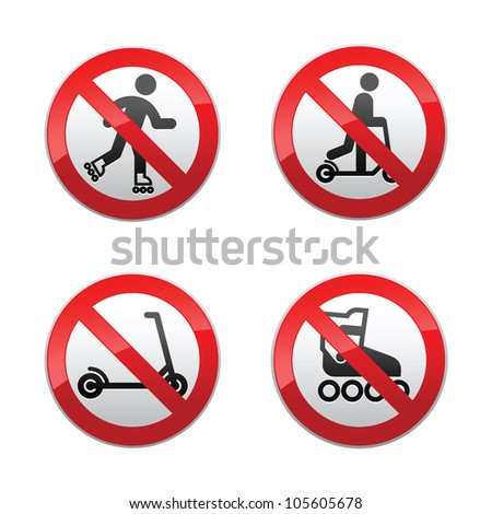 Set prohibited signs - scooter, Inline skates - stock photo