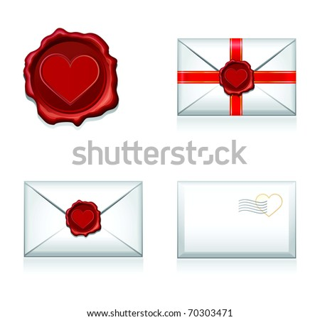 Set raster e-mail, envelop icons with heart wax press.For Valentine Day. - stock photo