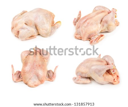 Set raw whole chicken isolated on white background