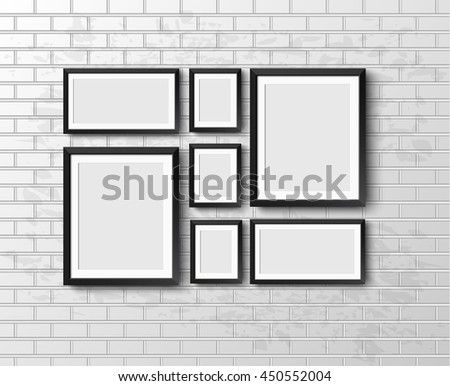 Set Realistic frame on light grunge brick wall. Perfect for your presentations. frame for your projects. illustration Raster version.