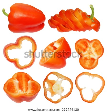 set red bell pepper and sliced paprika isolated on white background - stock photo