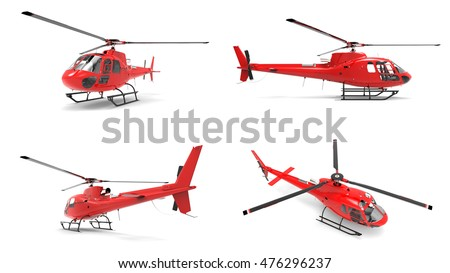 Set red civilian helicopter on a white uniform background. 3d illustration.