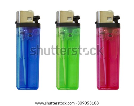 Set red, green,blue lighter isolated on a white background - stock photo