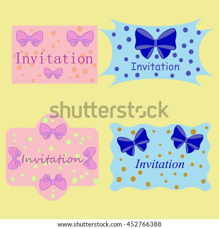 Set Retro Labels with bows.