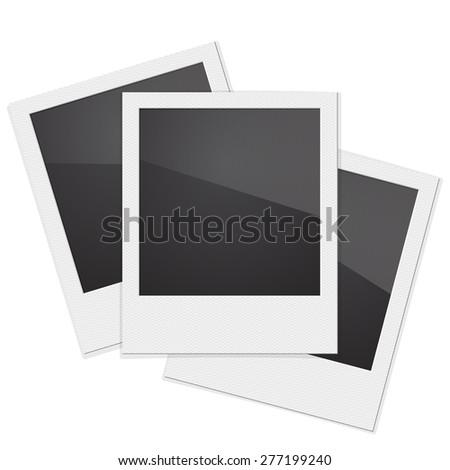 Set Retro Photo Frame Polaroid  On White Background.  illustration - stock photo
