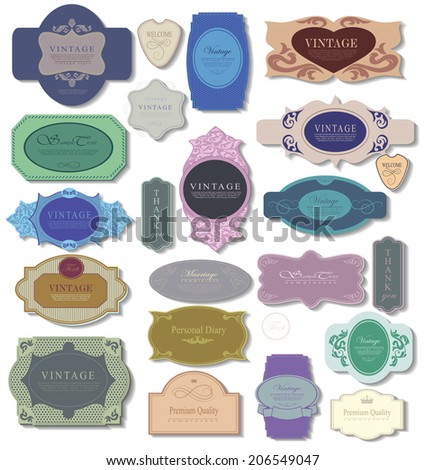 set retro vintage ribbons and label can be used for invitation, congratulation or website