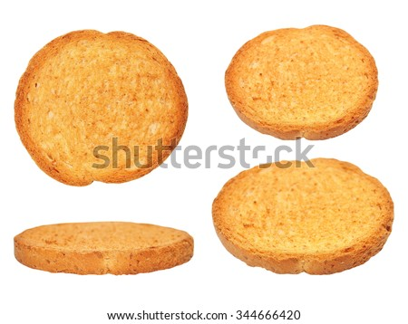 set rusks with wholewheat flour, bread sliced isolated, whole wheat dry rusk bread, wholemeal bread isolated on white background - stock photo