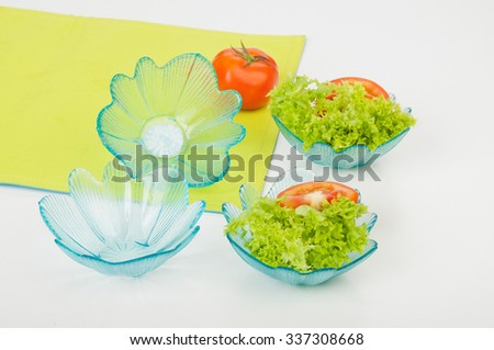 set salad bowl in glass