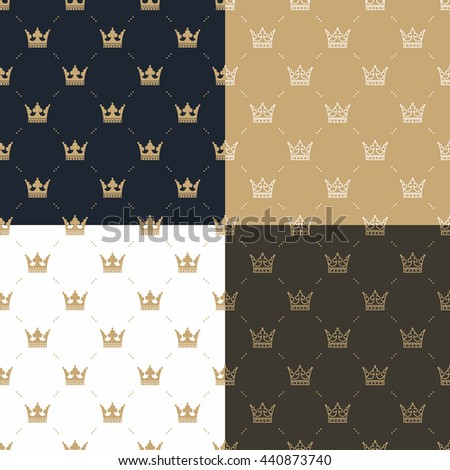 Set seamless pattern in retro style with a white and gold crown on a blue, gold, white and brown background. Can be used for wallpaper, pattern fills, web page background. Illustration