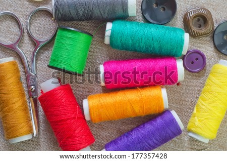 set sewing threads - stock photo