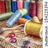 set  sewing threads of different colors - stock photo