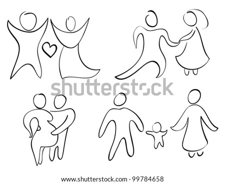 Set sign and symbol happy family. - stock photo