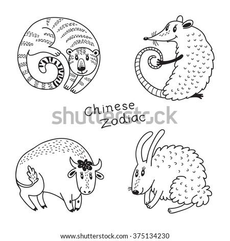 Set signs of the Chinese zodiac. - stock photo
