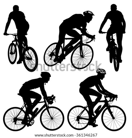Set silhouette of a cyclist male.   illustration.