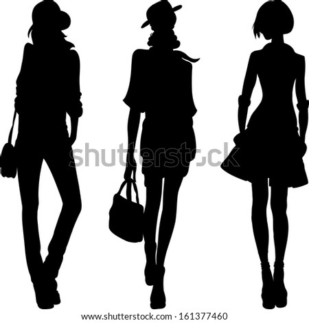 set 1 silhouette of fashion girls top models  - stock photo