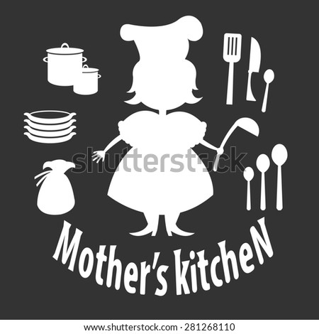 Set silhouette of woman with kitchen utensils - stock photo