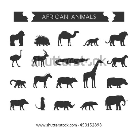 Set silhouettes of African animals. Geometric black animals of Africa.