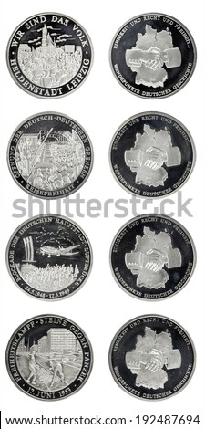 Set silver commemorative coins day division of Germany - stock photo