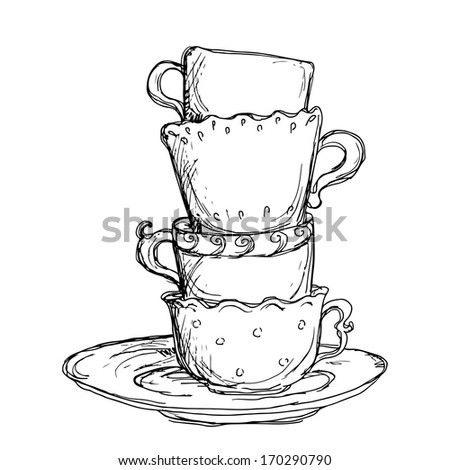 Set sketch cups and saucer isolated - raster version - stock photo