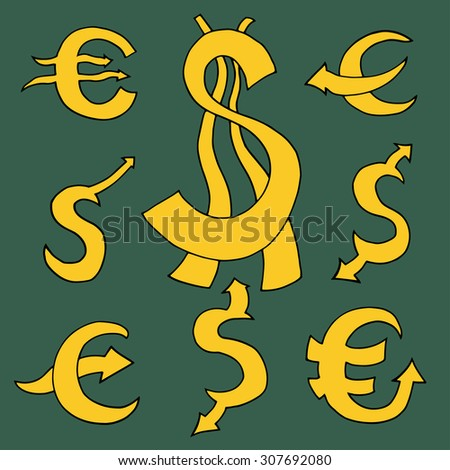 Set sketch of sign Dollar and Euro with arrows.  - stock photo