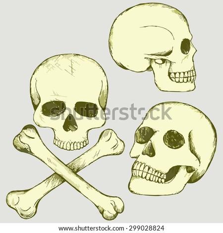 Set skull and crossbones. Raster version - stock photo