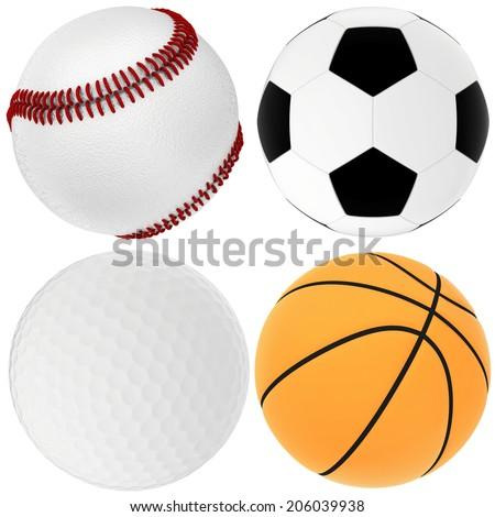 set sport ball. isolated on white background - stock photo