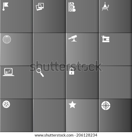 Set square infographic as buttons on a gray background
