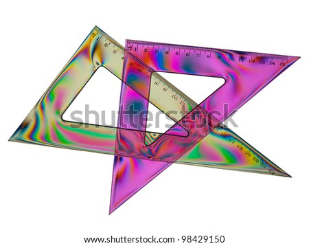 Set squares with stress patterns - rainbow effect maths - stock photo