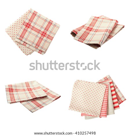 Set stack of colorful dish towels isolated on white. Multi-colored linen napkins for restaurant. Flat mock up for design. Top view