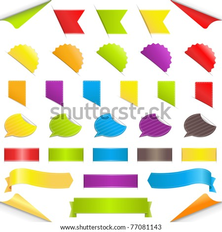 Set Stickers, Isolated On White Background