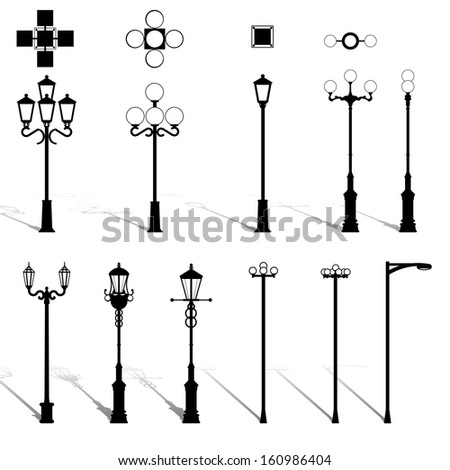 Set street lamppost - stock photo