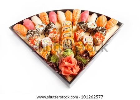 Set sushi isolate, served on a plate
