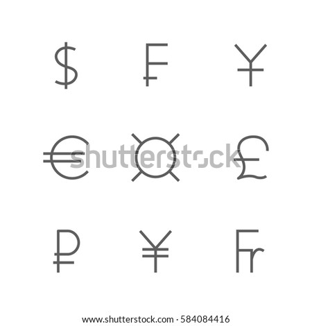 Set Symbols Leading World Currencies Thin Stock Illustration