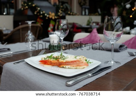 Set table in a restaurant, Christmas decoration