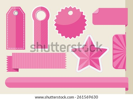 Set tags with ribbons and labels. Special offer, discount and percentages, price, banner. Leader of sale. Raster version - stock photo