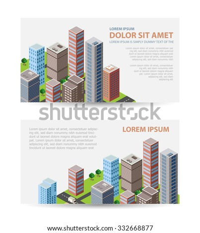 Set template invitations, business cards, flyers on the urban theme. Suitable for real estate agencies and construction and tourism companies.