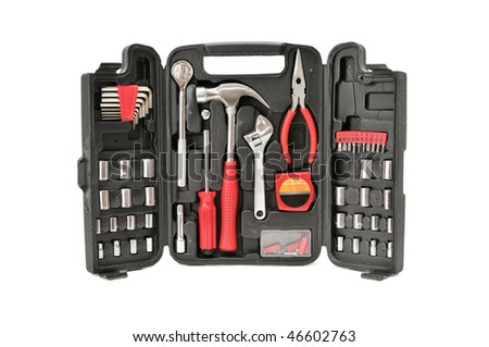 set tools isolated on a white