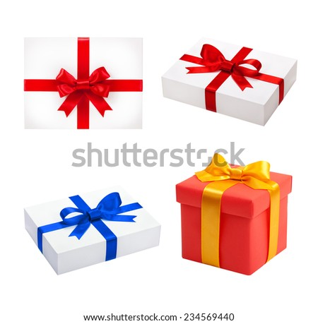 Set top box. Beautiful gift box isolated. Holiday presents - stock photo
