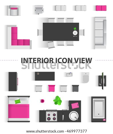Set Top View For Interior Icon Design Isolated Pink Flat