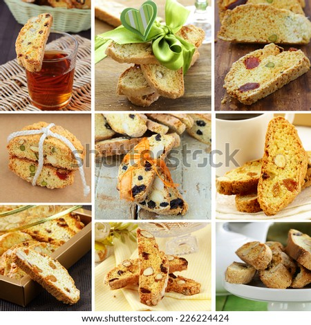 Set traditional Italian biscotti cookies in different variants - stock photo