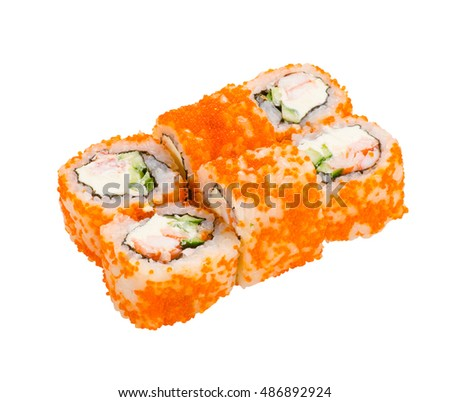 set traditional japanese rolls with crab and flying fish ROE, isolated on white background
