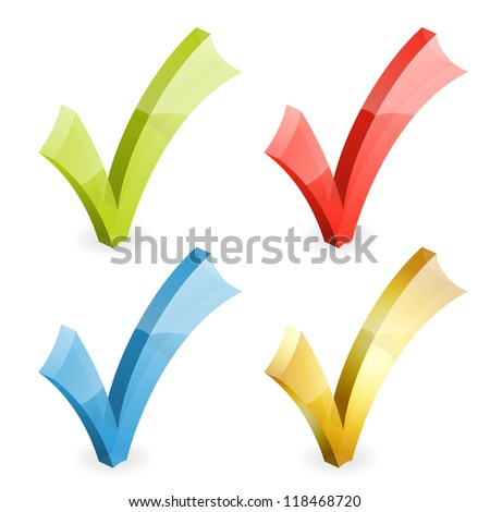 Set Transparent Check Marks Various Colors, isolated on white, illustration - stock photo